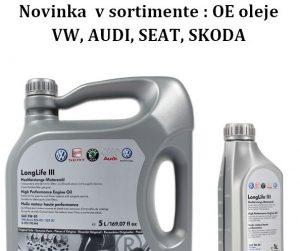Novinka v sortimente: OE oleje VW, AUDI, SEAT, ŠKODA