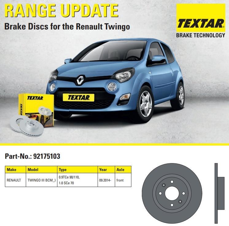 Brzdové kotúče Textar pre Renault Twingo