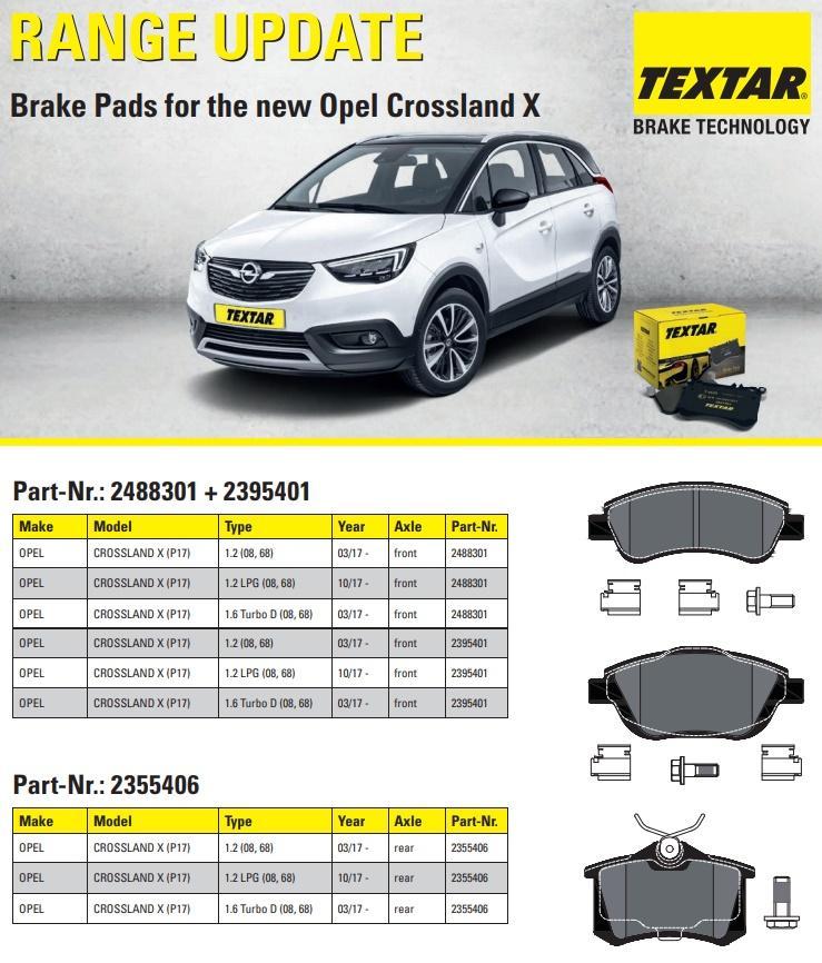 Brzdové destičky Textar na nový Opel Crossland X