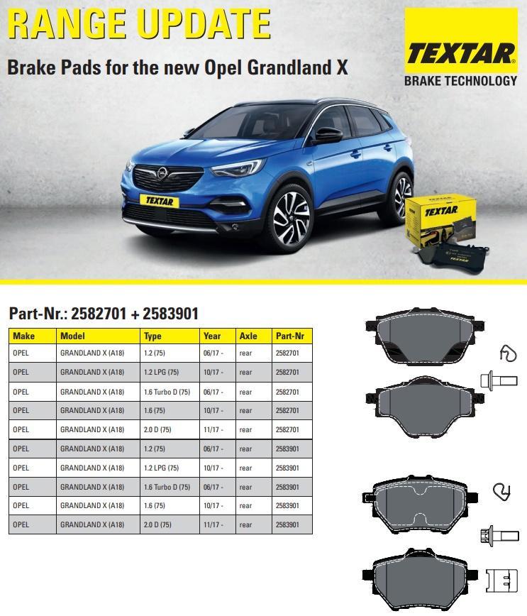 Nové brzdové destičky TEXTAR pro nový Opel Grandland X