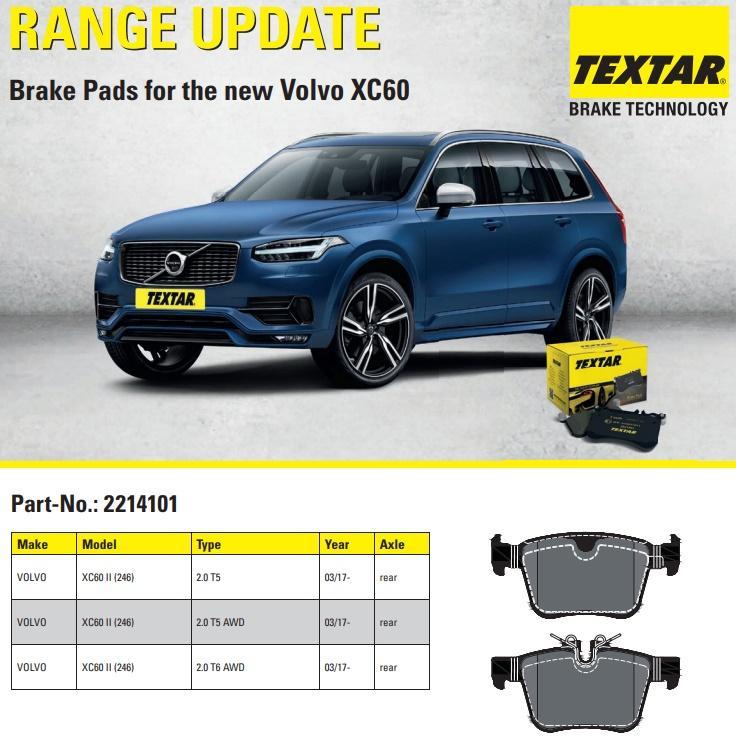 Nové brzdové destičky TEXTAR pro Volvo XC60