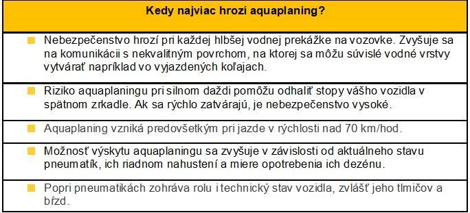 Kedy najviac hrozí aquaplaning