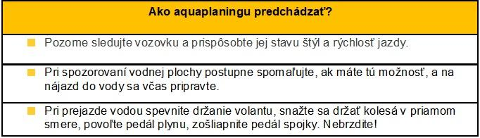 Ako aquaplaningu predchádzať