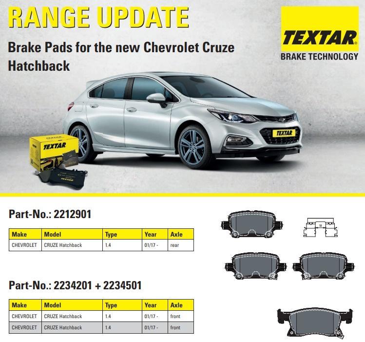 Textar umí brzdové destičky na nový Chevrolet Cruze Hatchback