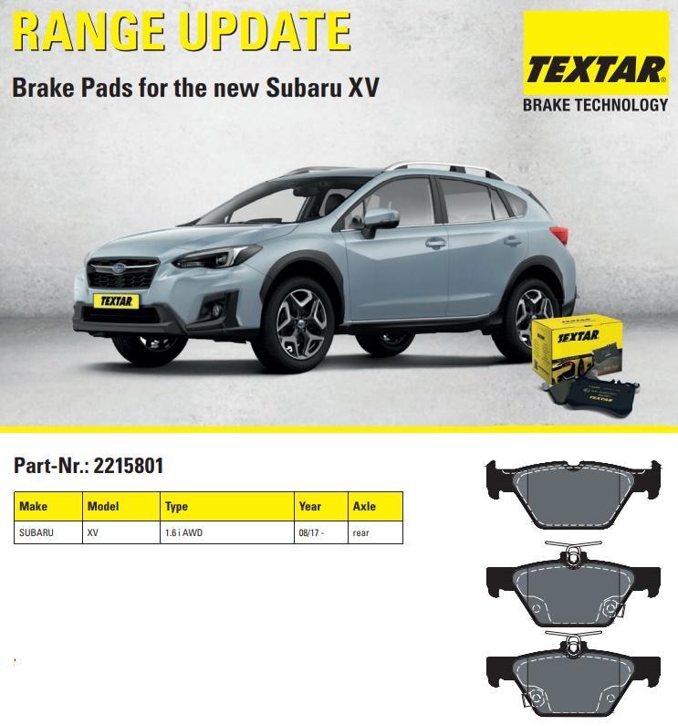 Brzdové destičky TEXTAR pro nové Subaru