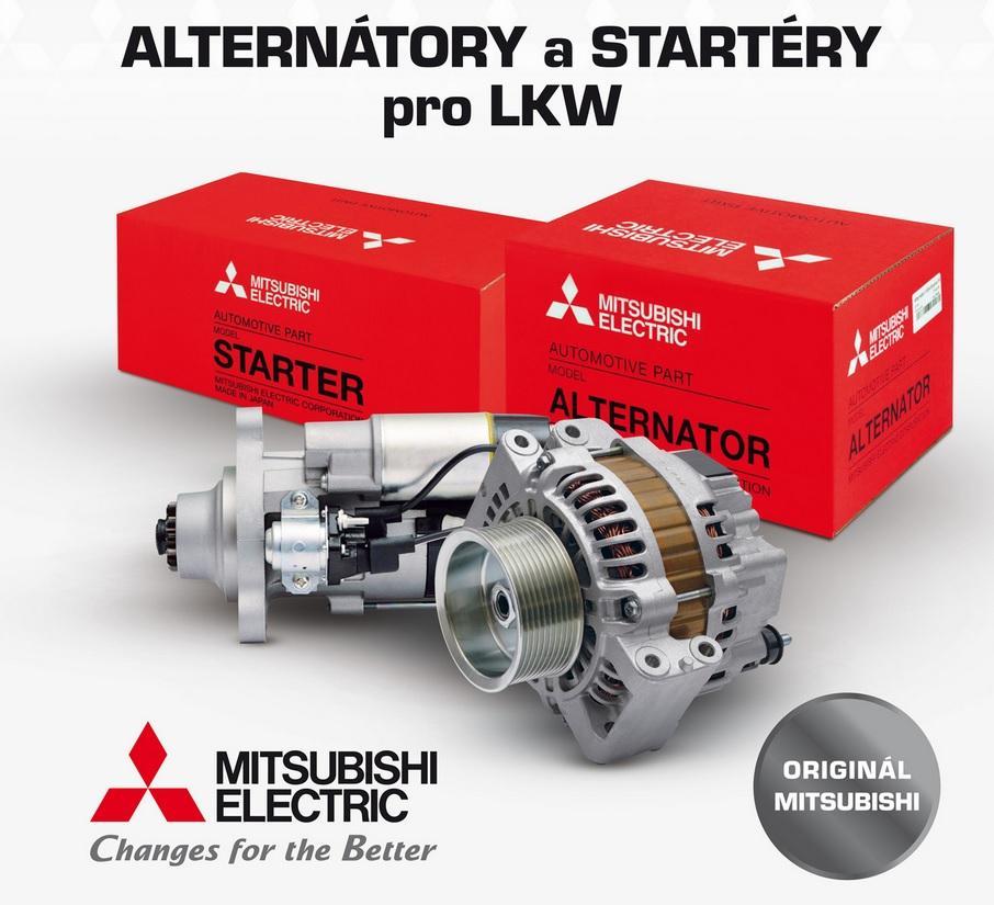 Alternátory a štartéry Mitsubishi pre LKW