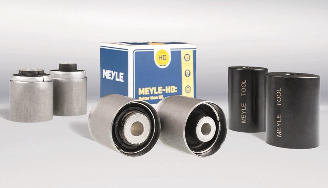 Kalibrované silentbloky MEYLE-HD v montážnom puzdre do ramien zadnej nápravy BMW