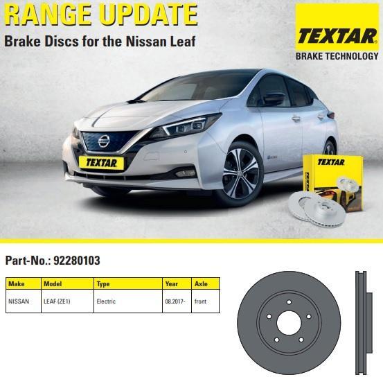 Brzdové kotouče Nissan Leaf od Textaru