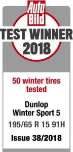 Dunlop Winter Sport 5 vítězem testu AutoBild