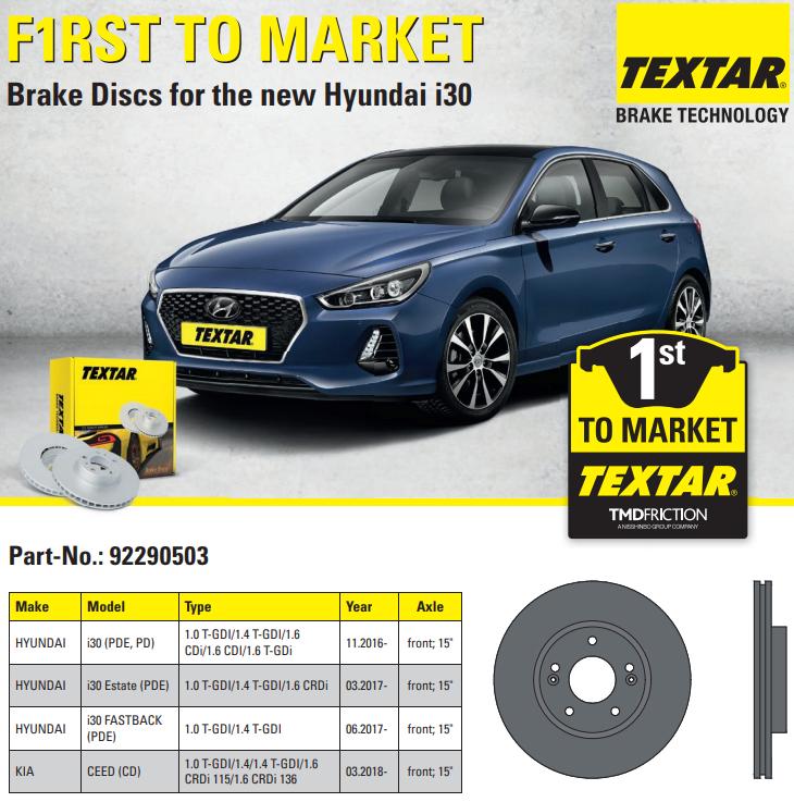 Brzdové kotúče Textar pro nový Hyundai i30