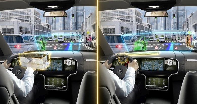Nová technologie vlnovodů umožňuje zobrazení rozšířené reality na velké ploše přímo v zorném poli řidiče
