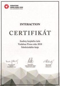 Certifikát společnosti Interaction - Firma roku 2018