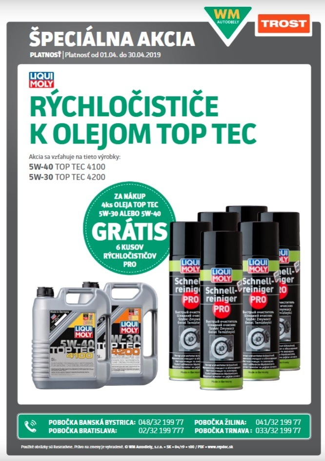 TROST: Rýchločističe k olejom TOP TEC