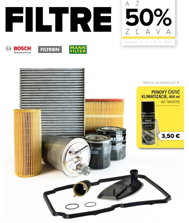 Až 50% zľavy na filtre Filtron, Mann a Bosch v Auto Kelly