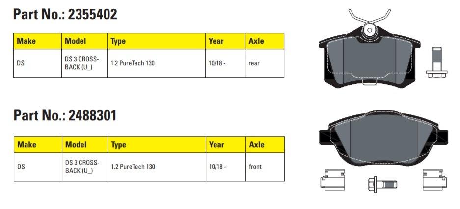 Textar brzdové doštičky novo pre vozy DS DS3