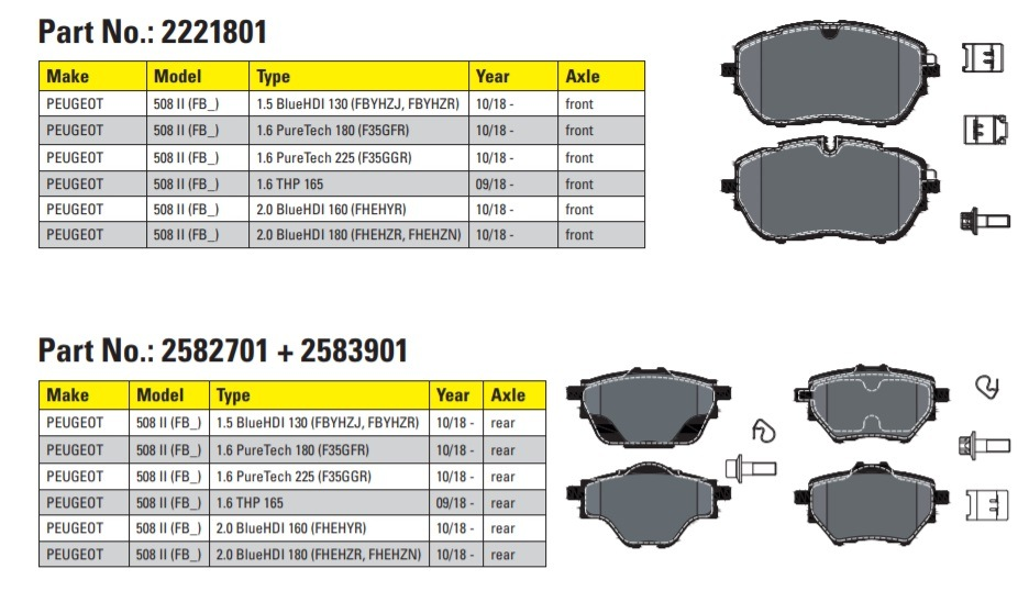 Textar brzdové doštičky pre Peugeot 508