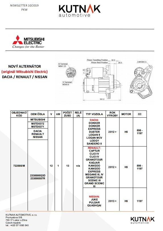 MITSUBISHI ELECTRIC má novo alternátor pre RENAULT / DACIA / NISSAN