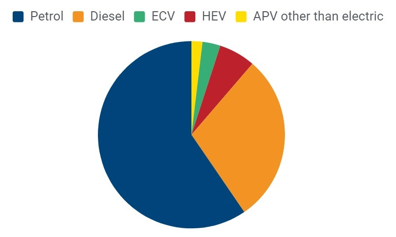Druhy paliv nových automobilů ve třetím čtvrtletí roku 2019