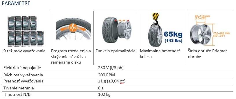 Parametre vyvažovačky MM-HC1024FA