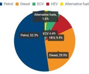 Typy paliv nových automobilů v prvním čtvrtletí roku 2020