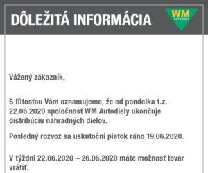 WM Autodiely ukončují distribuci náhradních dílů
