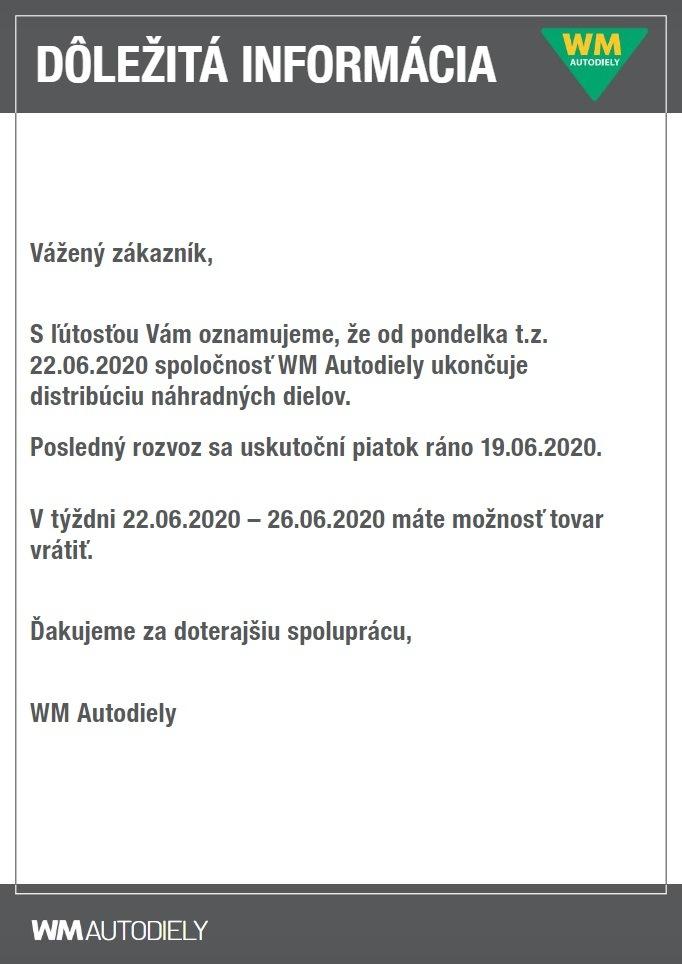 WM Autodiely ukončení