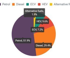 Typy paliv u nových automobilů ve druhém čtvrtletí 2020