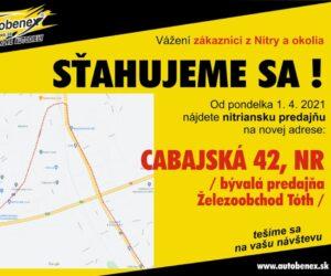 Autobenex upozorňuje na novou adresu ve městě Nitra
